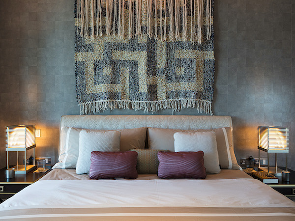 Armani Casa - bedroom decorated with bespoke wallpaper