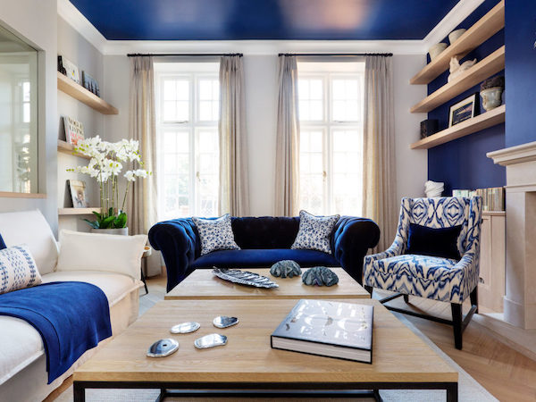 Astell Street - living room painted in blue and white