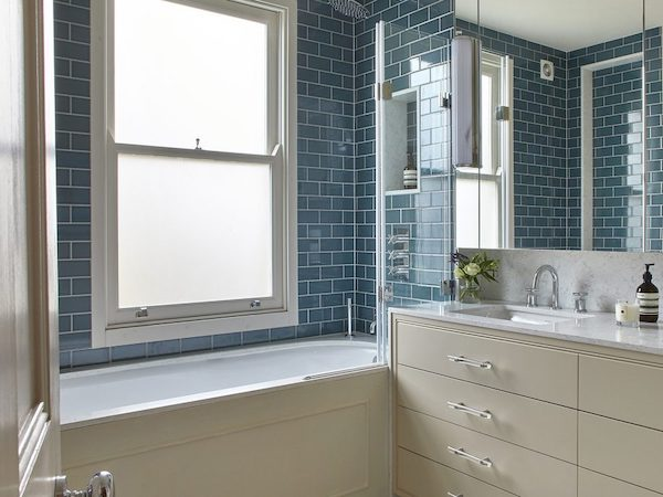 Barclay Road - bathroom tiled with blue metro tiles