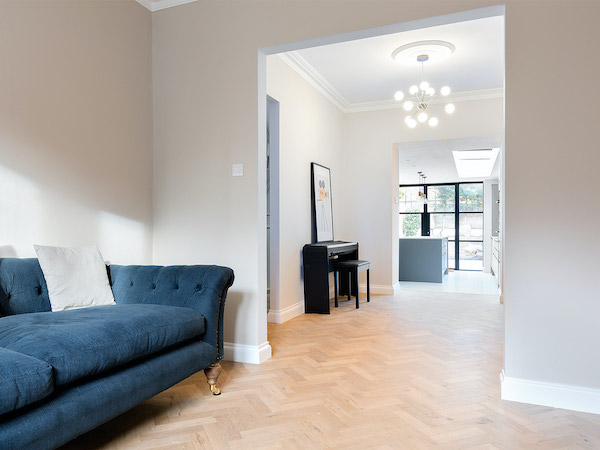 Pelham Road - living room painted in cream with white ceilings