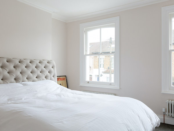 Pelham Road - master bedroom painted in cream with white ceilings