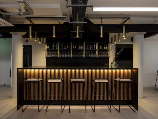Workstories - office bar painted in white with black finishes
